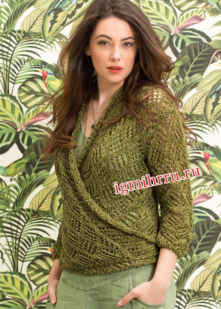 Зеленый ажурный жакет с завязками. Вязание спицами