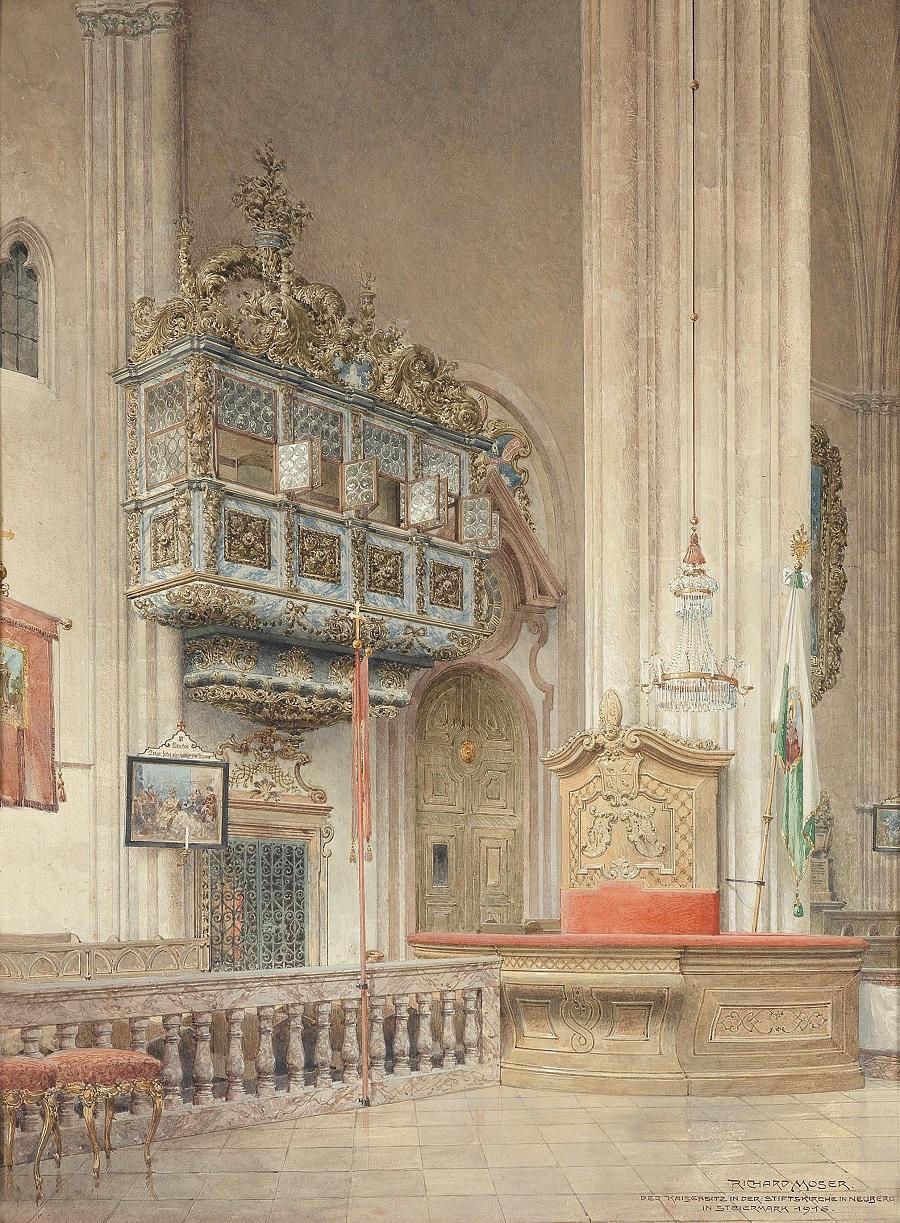 Der Kaisersitz in der Stiftskirche in Neuberg in der Steiermark , 1916.