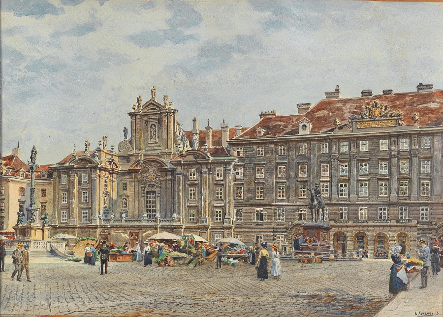 Square Am Hof, flower market , 1913.