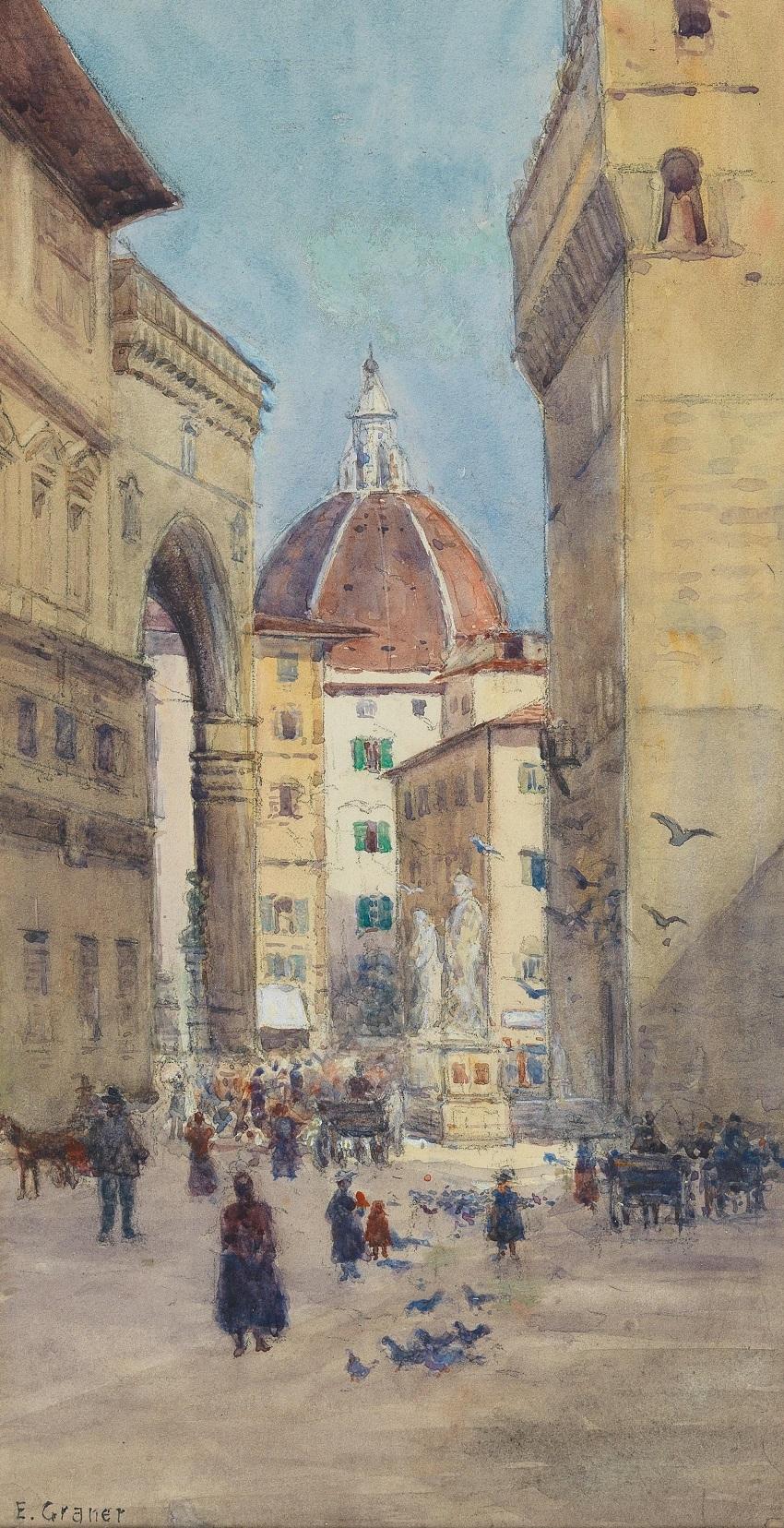 Флоренция Вид на Пьяцца делла Синьория в собор.