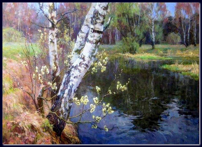 весна верба живопись