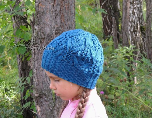 вязаная шапка для девочки, шапка спицами, шапка с ажурами, лана гросса, lana grossa, hat