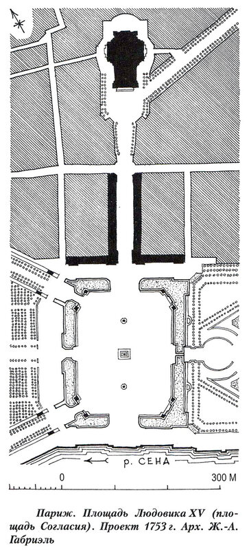 Площадь Людовика XV в Париже, проект Габриэля 1753 года, современная площадь Конкорд
