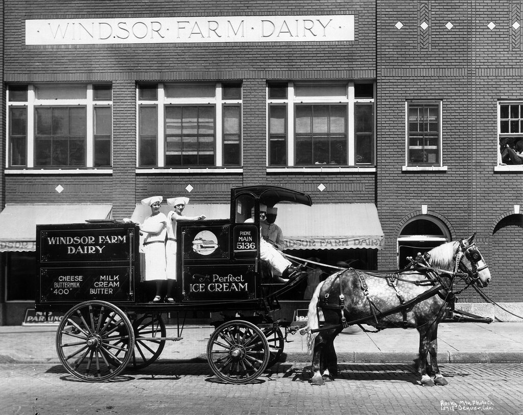 """Windsor Farm Dairy horse drawn wagon, in Denver, Colorado, with lettering """"Windsor Farm Dairy, Cheese, Buttermilk, Milk, Cream, Butter, The Perfect Ice Cream"""", 1900s"""