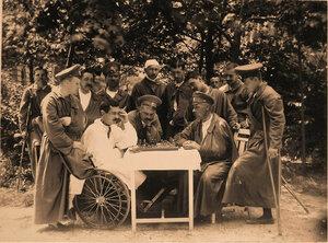 Группа раненых офицеров за игрой в шахматы в саду лазарета.