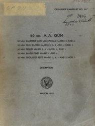 Книга Ordnance Pamphlet No. 911  - 20 mm A.A. GUN
