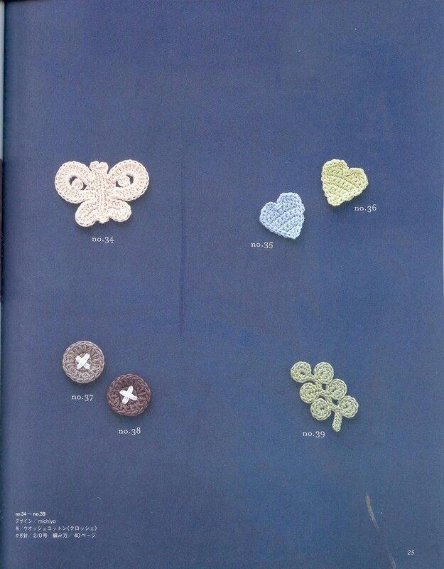 Бабочка, пуговицы, сердечки и листик - вязаные аппликации.