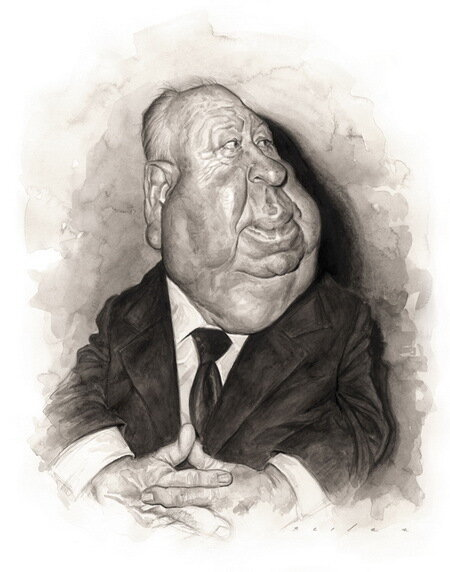 Альфред Хичкок (Alfred Hitchcock)Карикатуры Джейсон Сэйлер (Jason Seiler)