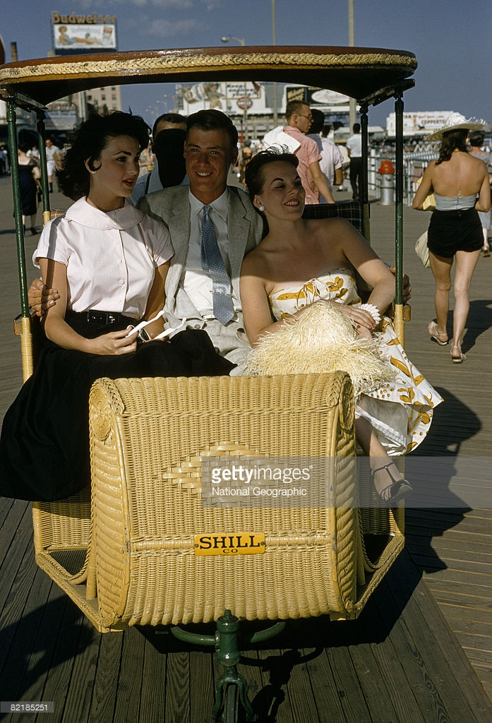 1960 Ride in a roller chair lets boardwalkers rest their feet, Atlantic City, New Jersey.jpg