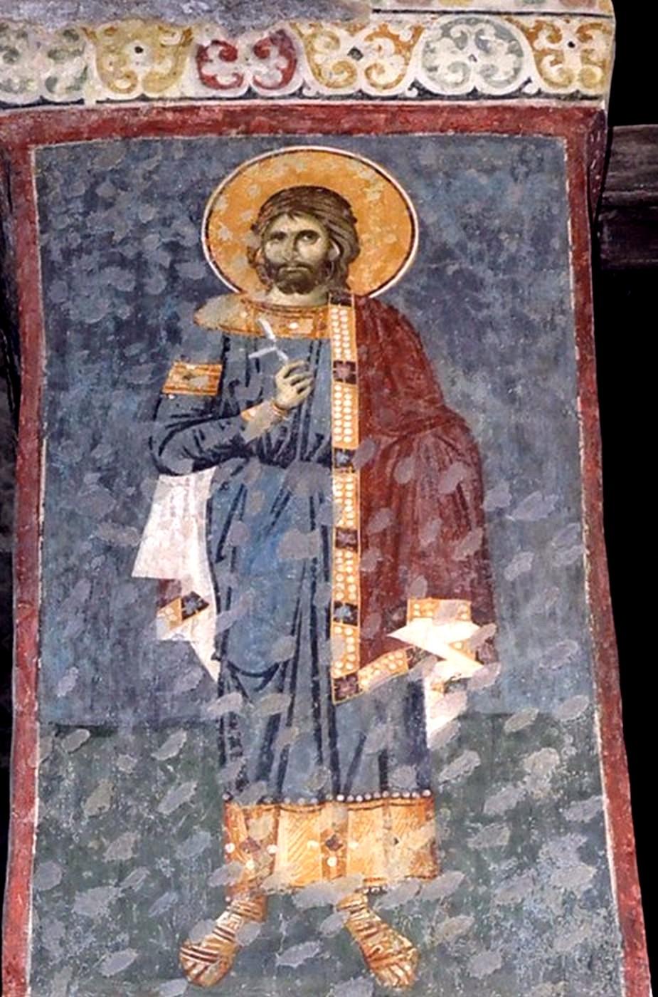 Святой мученик. Фреска церкви Богородицы Левишки в Призрене, Косово, Сербия. 1310 - 1313 годы. Иконописец Михаил Астрапа.