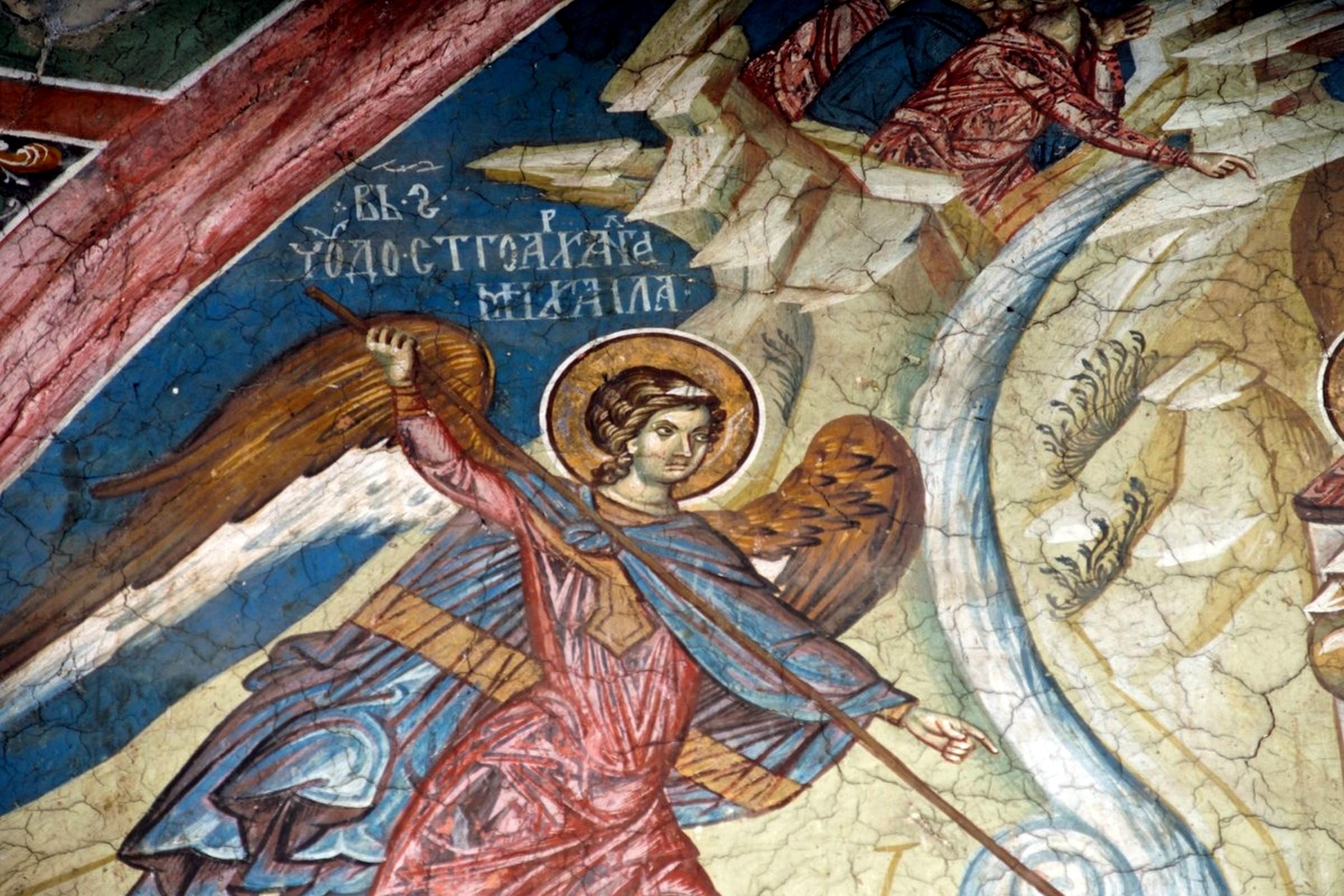 Чудо Архистратига Михаила в Хонех. Фреска монастыря Высокие Дечаны, Косово, Сербия. Около 1350 года.
