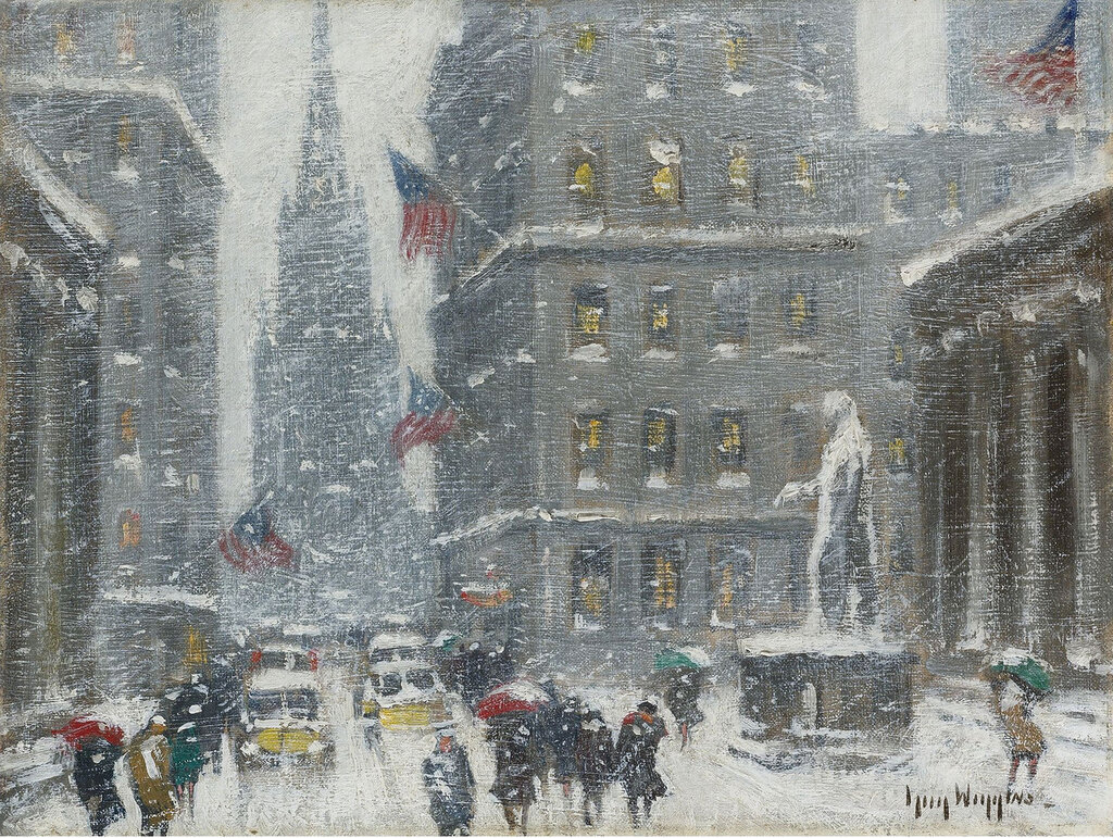 Guy Carleton Wiggins - Wall Street with a View of Trinity Church and the Sub Treasury Building.jpeg