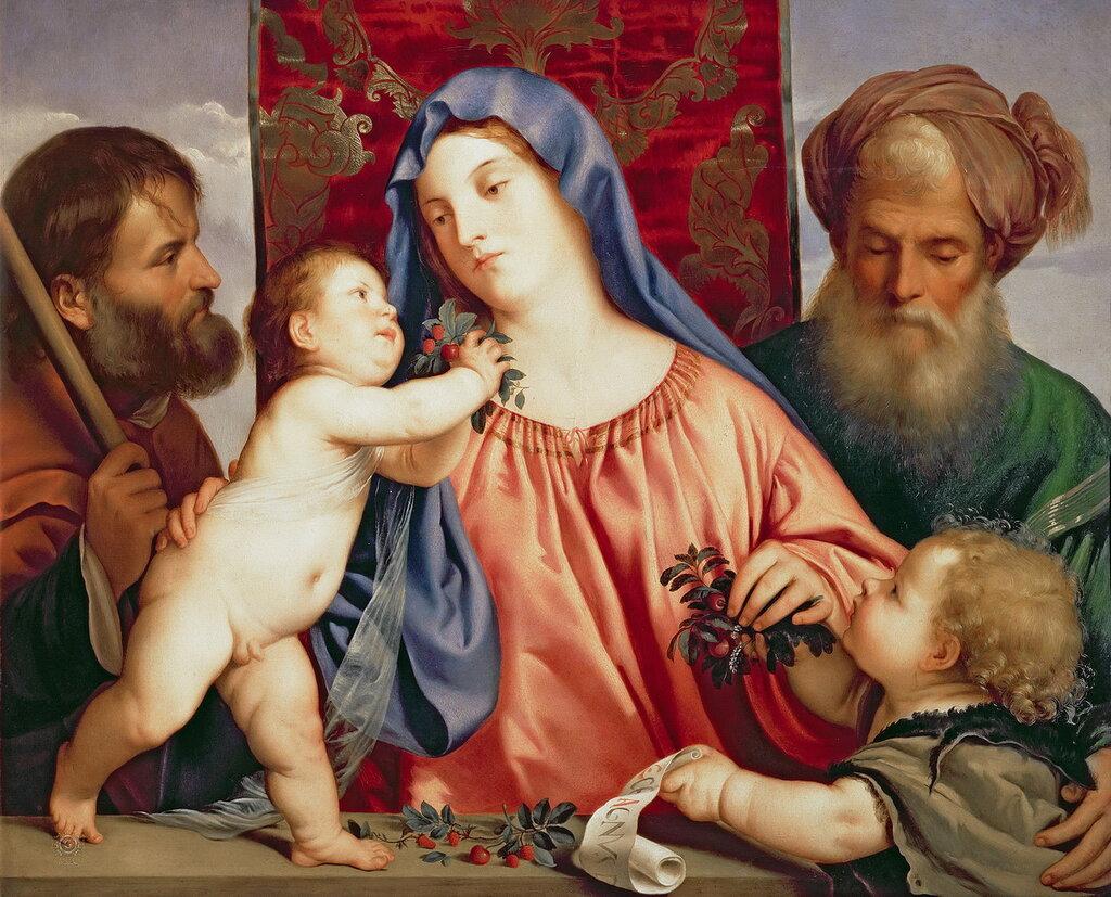 Тициан (Тициано Вечеллио): Мадонна с вишней с Иосифом [Madonna of the Cherries with Joseph] 1517-18