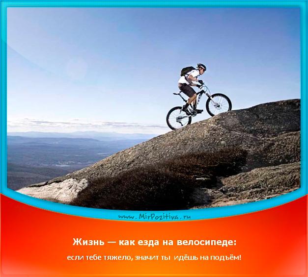 Позитивчик дня: Жизнь — как езда на велосипеде: если тебе тяжело, - значит ты  идёшь на подъём!