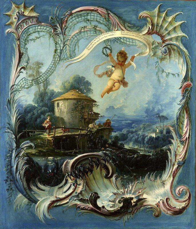 """The Enchanted Home: A Pastoral Landscape Surmounted By Cupid   Oil On Canvas: 127 x 109 cm (52.92 x 45.42 in)  """"Contemplant des Bergers / la demeure chérie / Je n'ay point de mépris / pour leur rusticité : / Celle que je chéri joint la simplicité / A"""