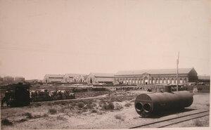 Вид территории, где размещались (слева направо) корпуса сталелитейной, чугунолитейной и механической мастерских общества.