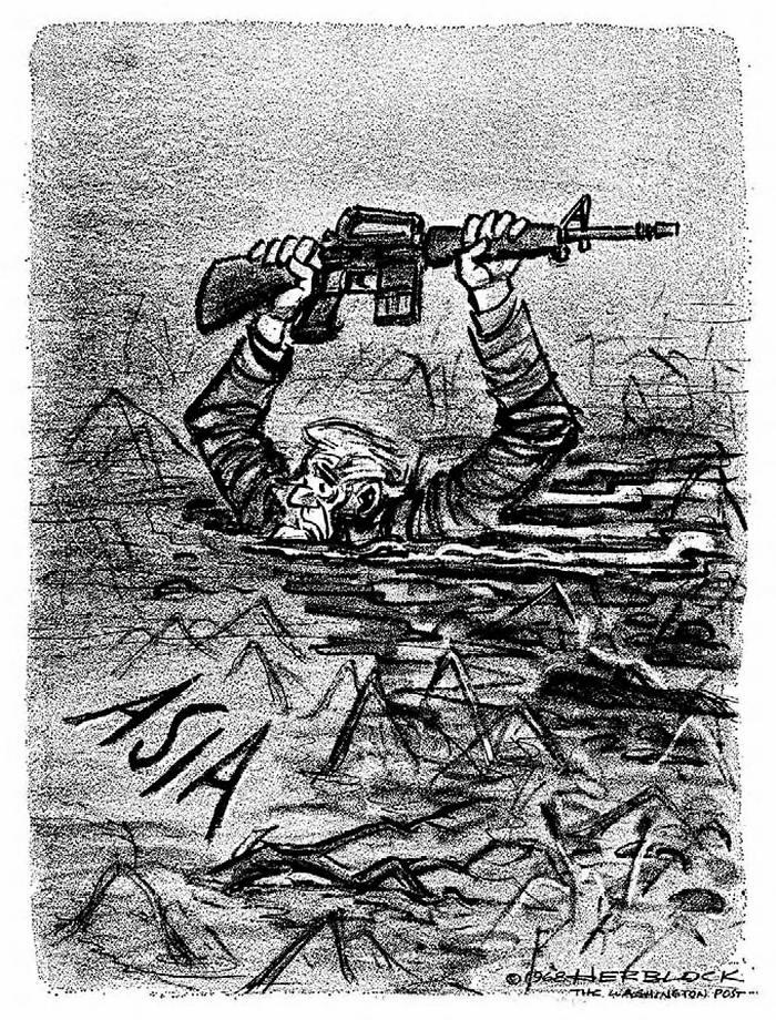 Американский дядя Сэм с винтовкой в руках глубоко завяз в азиатском болоте (Herblock)
