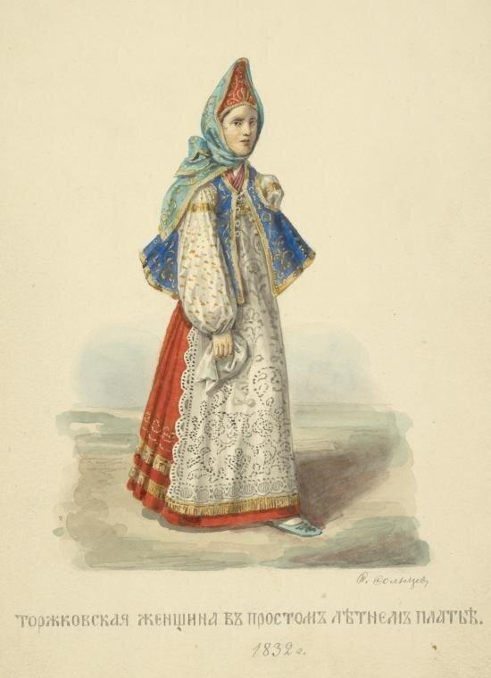 25. Торжковская женщина в просторном летнем платье.