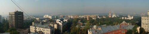 Утренняя панорама смога в Москве