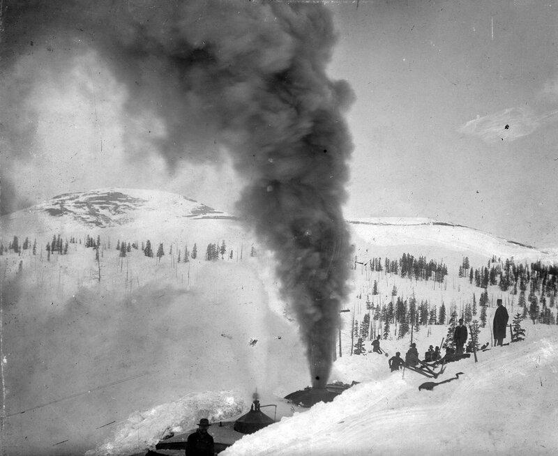 Rotary snowplow on Boreas Pass, southeast of Breckenridge, Colorado, winter 1898-1899.