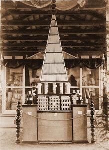 Экспонаты отдела фабрично-заводской  промышленности, кустарного и ремесленного производства стеариновые свечи, мыло и химические продукты заводов Г. М. Осокина.