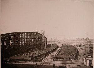 Вид металлических конструкций двух- пролетного моста, изготовленных в мастерских общества и предназначенных для забайкальской железной дороги.