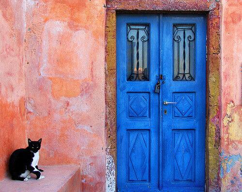 синие входные двери