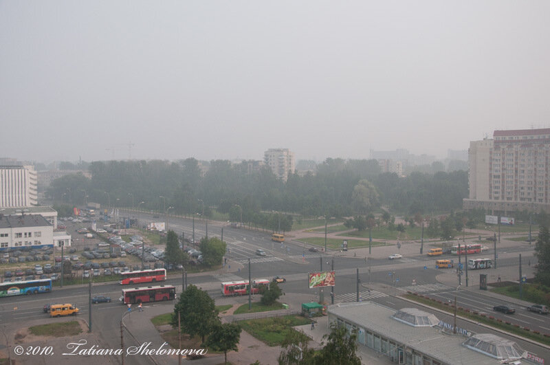 Дым от торфяных пожаров в Санкт-Петербурге