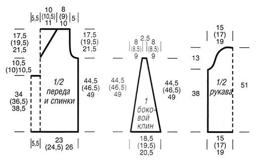 Туника с боковыми клиньями cхема