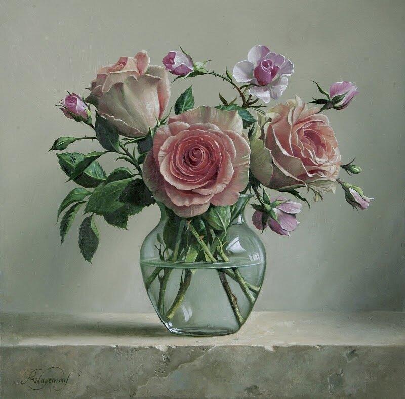 Цветочные натюрморты .Бельгийский художник Pieter Wagemans