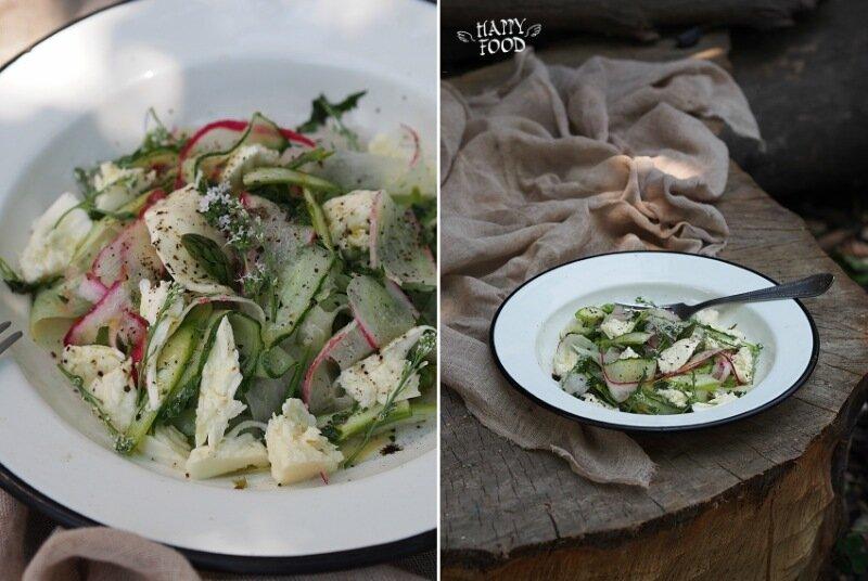 Салат с редисом, огурцом, спаржей и моцареллой