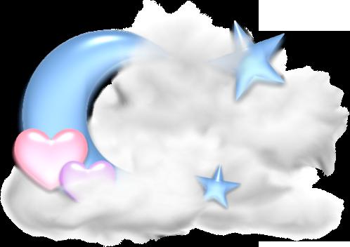 луна, облака