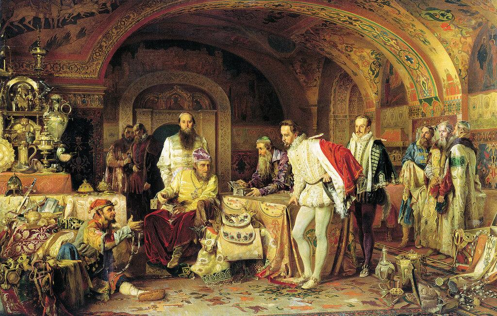 0556.Litovchenko.Aleksandr.(1835-1890).Ivan.Groznyiy.pokazyvaet.sokrovisha.angliiyskomu.poslu.Gorseiu.jpg