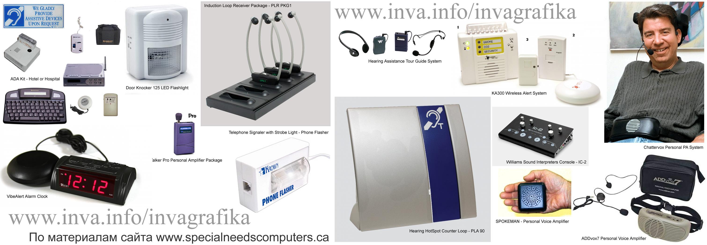 Инваграфика, слуховые аппараты, голосообразующие аппараты, ИКТ для инвалидов с нарушением слуха и речи