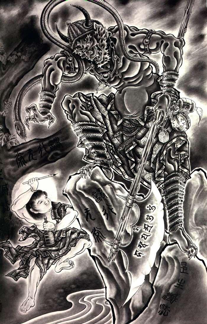 Злобные демоны на эскизах татуировок японского художника Horiyoshi (81)