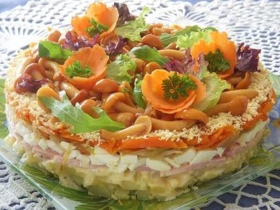 Салат с ветчиной и грибами