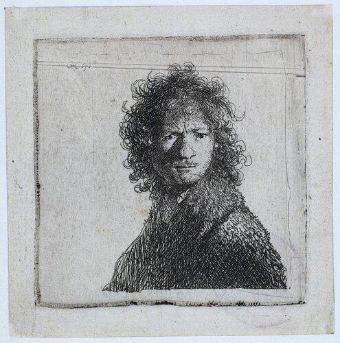 3. Нахмуренный автопортрет, 1630 . Рембрандт на бумаге. Rijksmuseum, Амстердам.