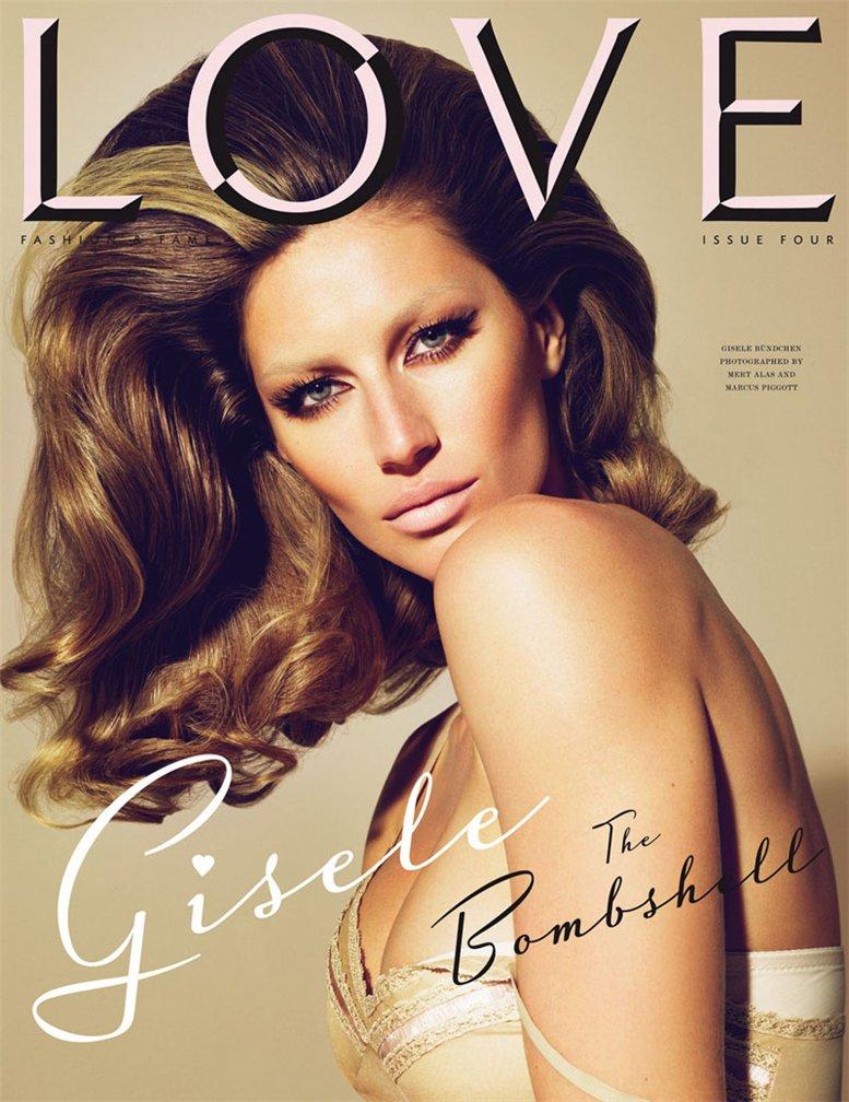 Love Magazine 4 covers by Mert Alas and Marcus Piggott - Gisele Bundchen