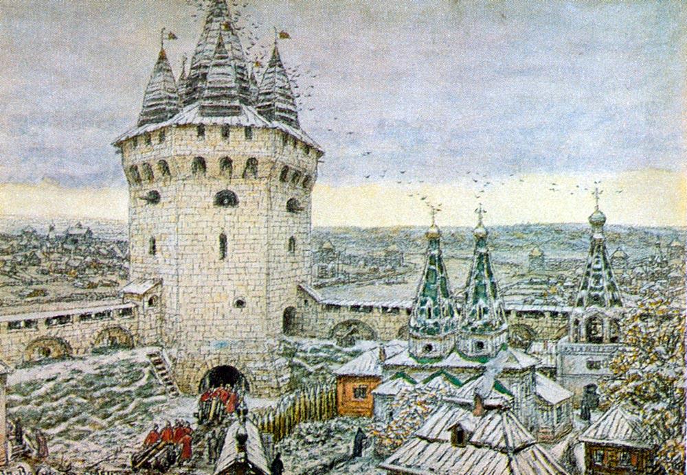 Картина Аполлинария Васнецова «Семиверхая угловая башня Белого города в XVII веке» Крупнейшую русску