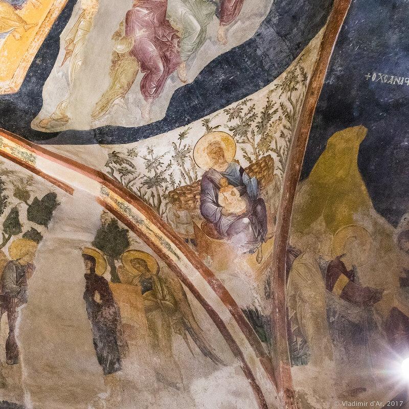 Нищий Лазарь на лоне Авраамовом. Фрески Хоры.