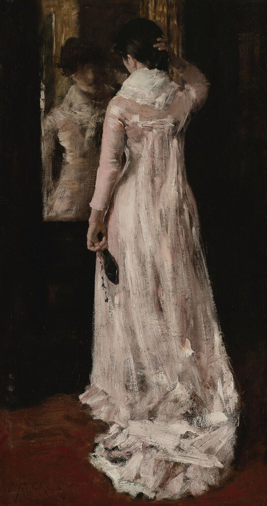 William Merritt Chase - I Think I`m Ready Now (The Mirror, the Pink Dress), 1883.jpeg