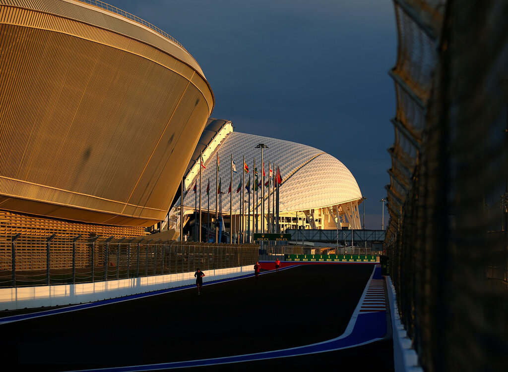 SOCHI, RUSSIA - OCTOBER 08:  a general view of the track backdropped by the Fisht Olympic Stadium during previews ahead of the Russian Formula One Grand Prix at Sochi Autodrom on October 8, 2014 in Sochi, Russia.  (Photo by Paul Gilham/Getty Images)