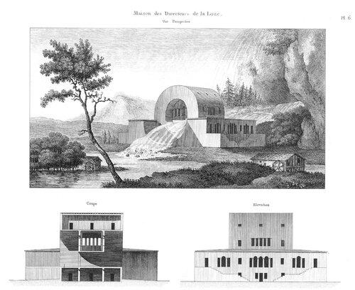Дом смотрителя источника в идеальном городе Шо, архитектор Клод Леду, разрез, фасад, общий вид