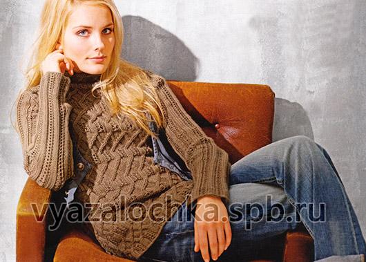 Пуловер с ажурным узором с косами