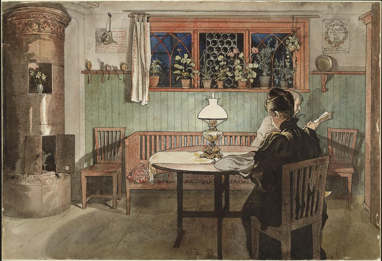 Carl Larsson: När barnen lagt sig. Ur Ett hem.NMB 266