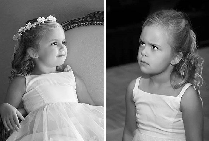 Эмоции девочки с букетом: перед свадьбой и к концу дня.