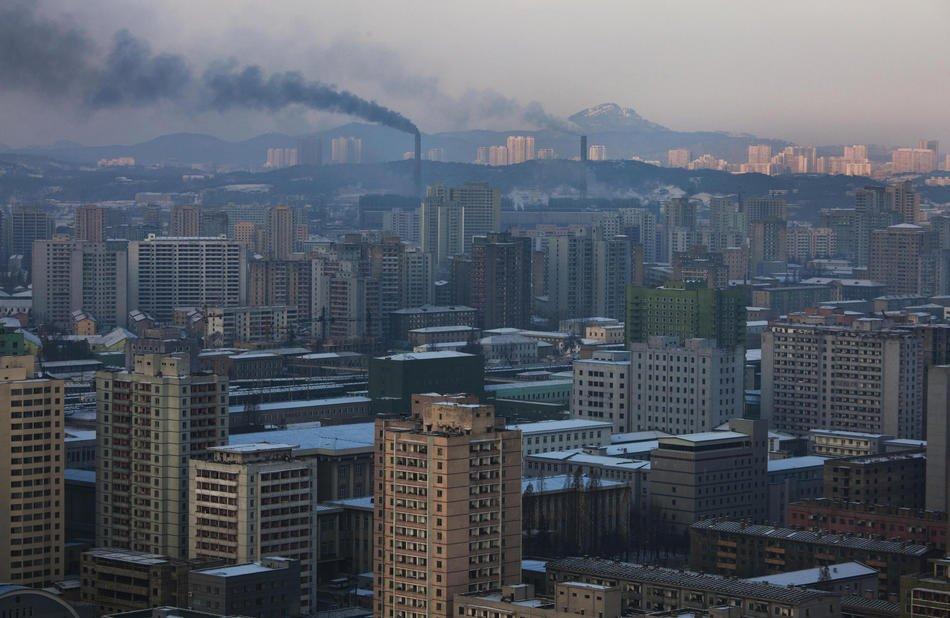 0 баллов по шкале Яндекс.Пробки (свободное движение). Центр Пхеньяна, 9 декабря 2011: