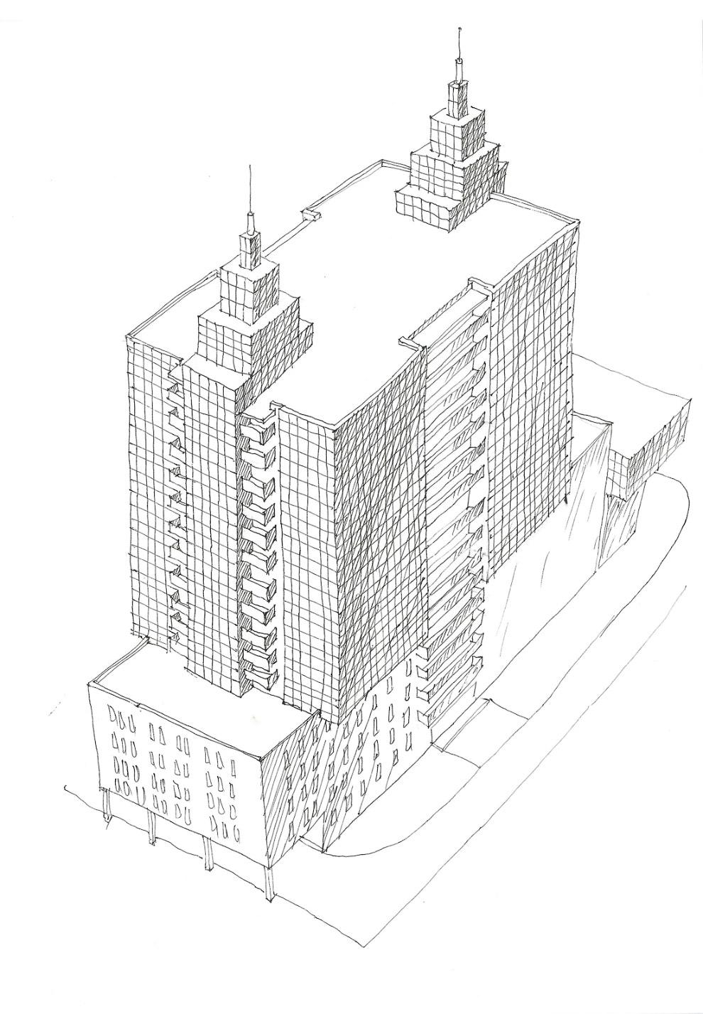 43. На основе утверждённого варианта была создана компьютерная трёхмерная проекция здания.