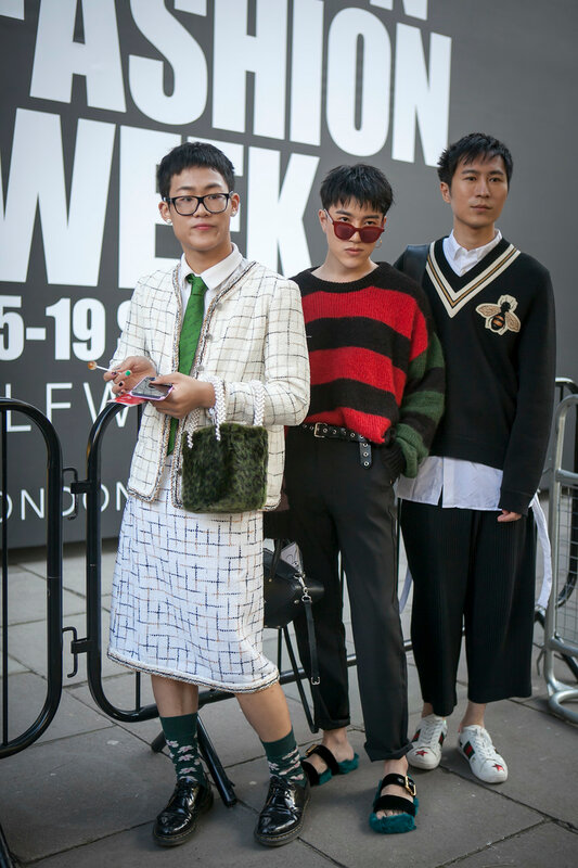 LONDON, ENGLAND - September 15, 2017 Beautiful and stylish boys posing during the London Fashion Week. outside Eudon Choi