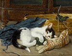 Kitten Playing with a Ball of Wool on a Blue Blanket.jpg